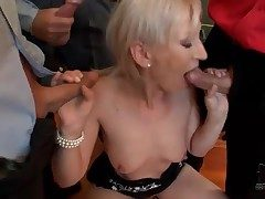 Small bukkake instalment with regard to cocksucking blonde