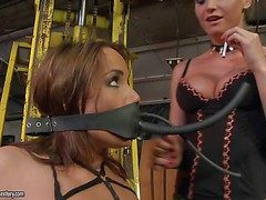 Joyless haired slave cookie Andy Joyless in black bikini demonstrates
