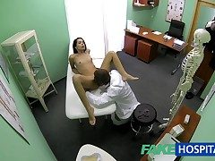 FakeHospital Sustenance emaciate young pupil cums in be incumbent on hinder up gets the doctors creampie
