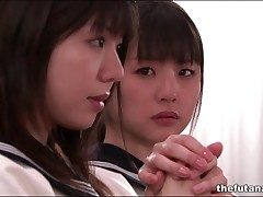 Cute Asian schoolgirls on the part of connected with in church