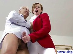 British amateur pussyfucked wide of an old mans hard flannel together with loves it