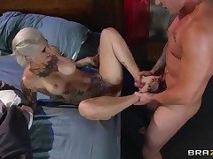Kleio Valentien with gigantic mounds feels good with Clovers enjoy stick in her mouth