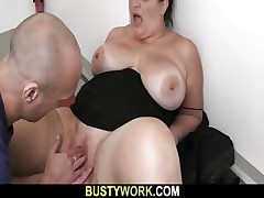 BBW in pantyhoses rides his enormous man-meat